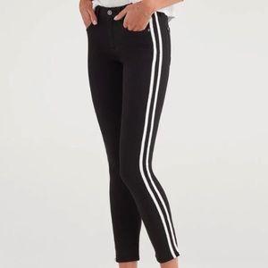 !!! Skinny Black Jeans with Side Stripe